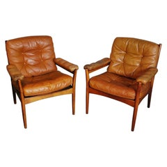 Pair of Mid Century G Nobel Arm Chairs by Nobel in Tufted Leather