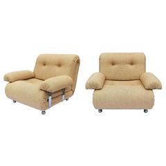 Pair of Midcentury G-Plan Chrome Modular Armchairs Sofa Vintage