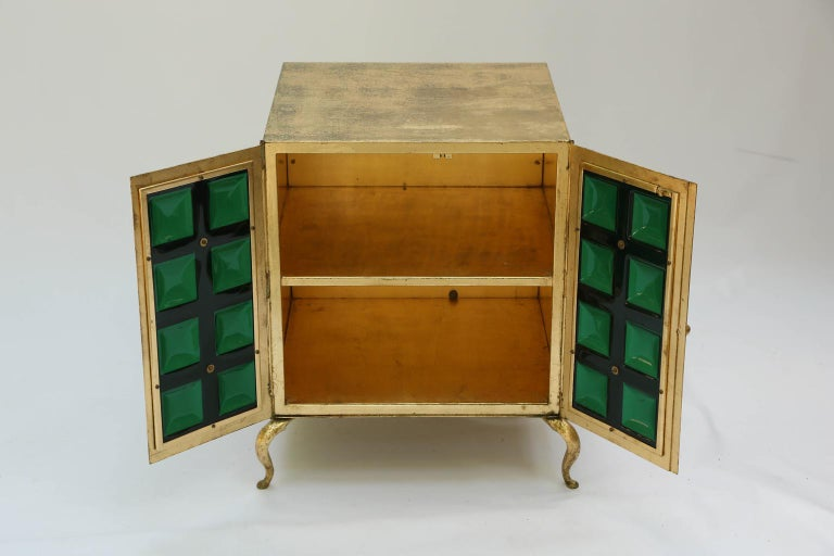 Pair of Midcentury Gilt Metal Cabinets with