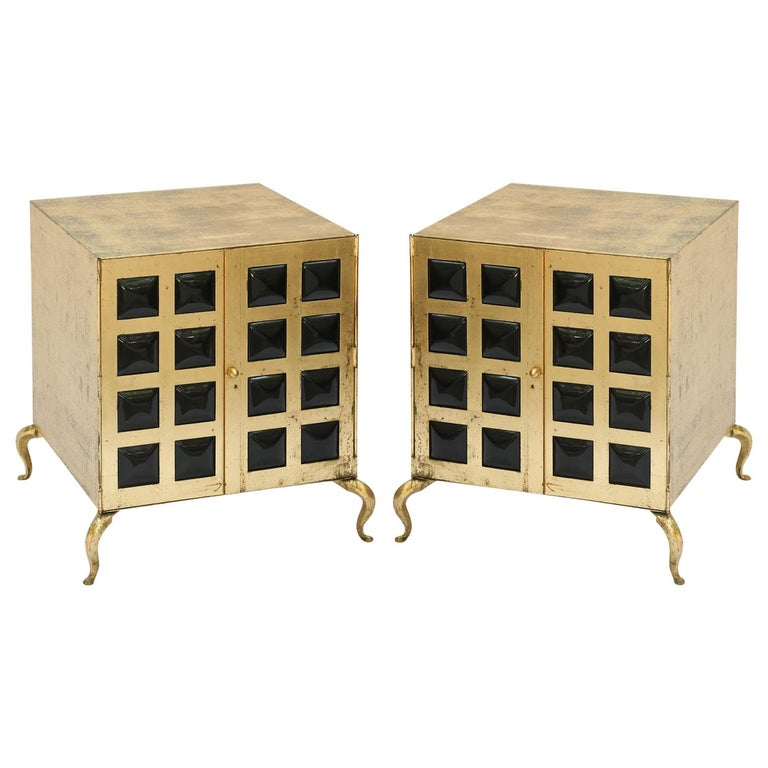 """Pair of Midcentury Gilt Metal Cabinets with """"Bubble"""" Plastic Door Grills For Sale"""