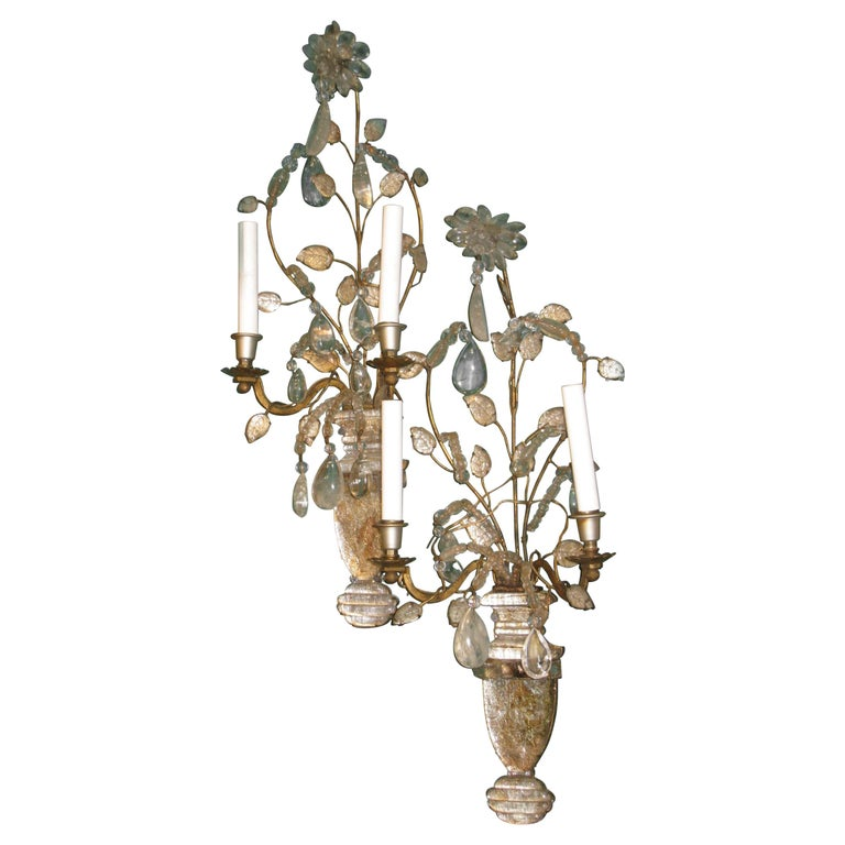 Pair of Midcentury Glass and Rock Crystal Sconces Attributed to Baguès For Sale