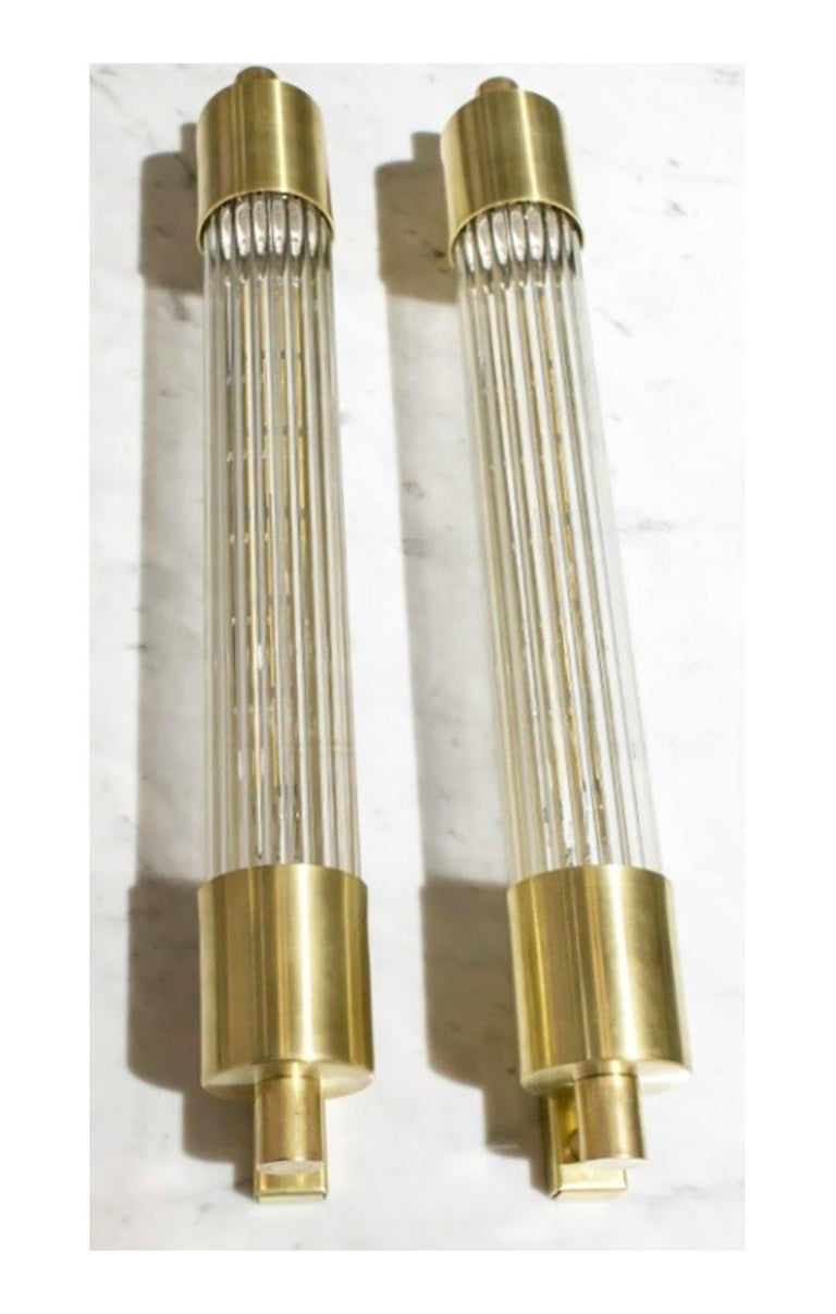 English Pair of Midcentury Glass Rod Sconces For Sale