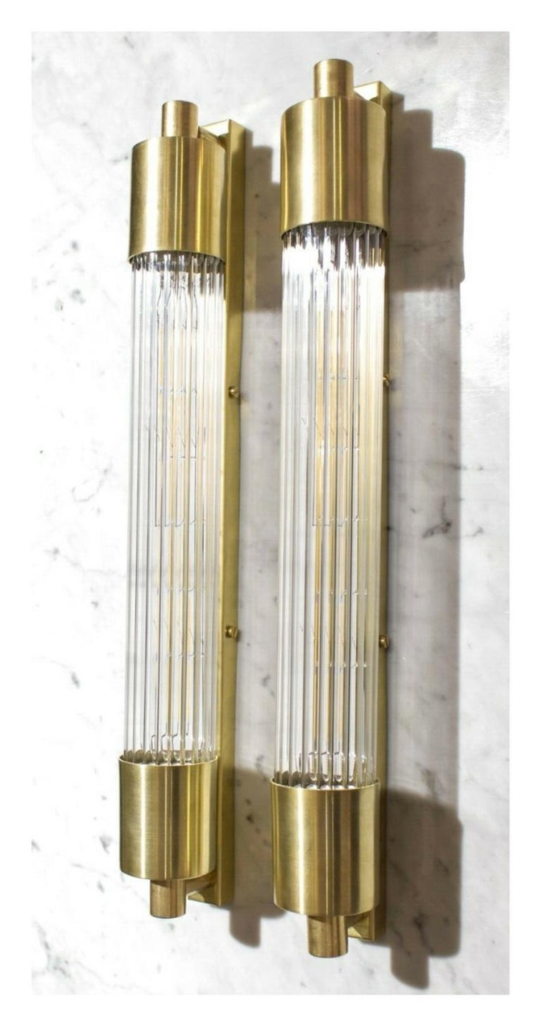 Pair of Midcentury Glass Rod Sconces In Good Condition For Sale In New York, NY