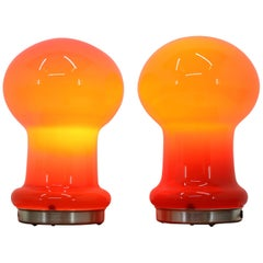 Pair of Midcentury Glass Table Lamps, 1960s