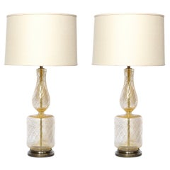 Pair of Mid Century Glass Table Lamps with 24kt Yellow Gold Flecks & Brass Bases