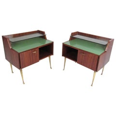 Pair of Midcentury Glass Top Italian Nightstands
