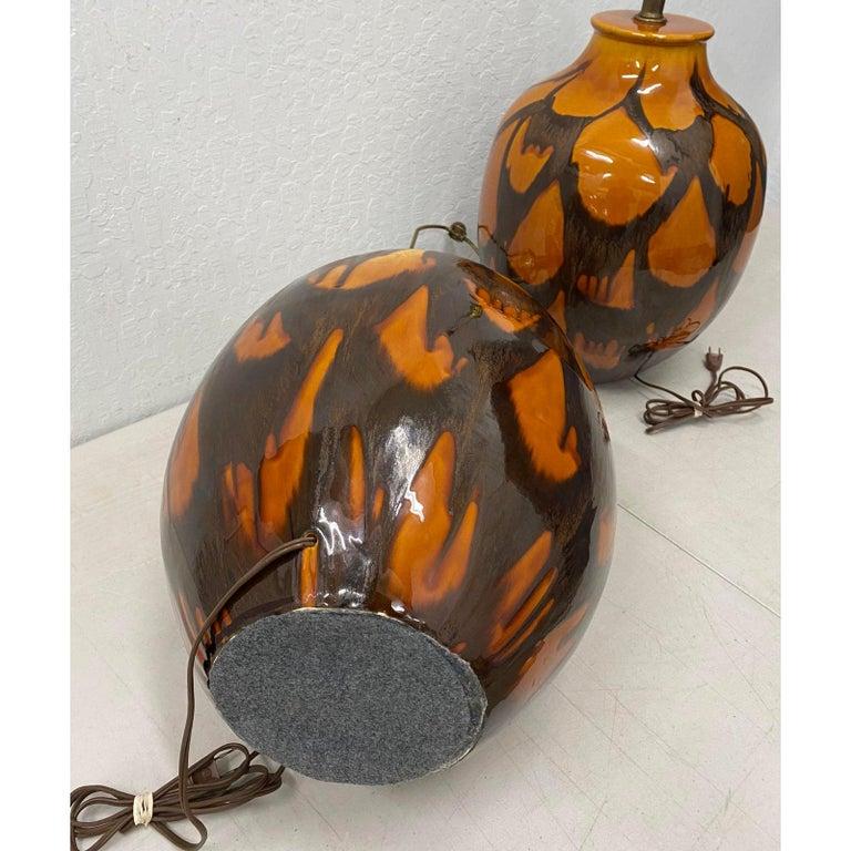 American Pair of Midcentury Glazed Ceramic Lamps, circa 1970s For Sale