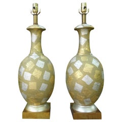 Pair of Mid-Century Gold and Silver Gilt Harlequin Lamps