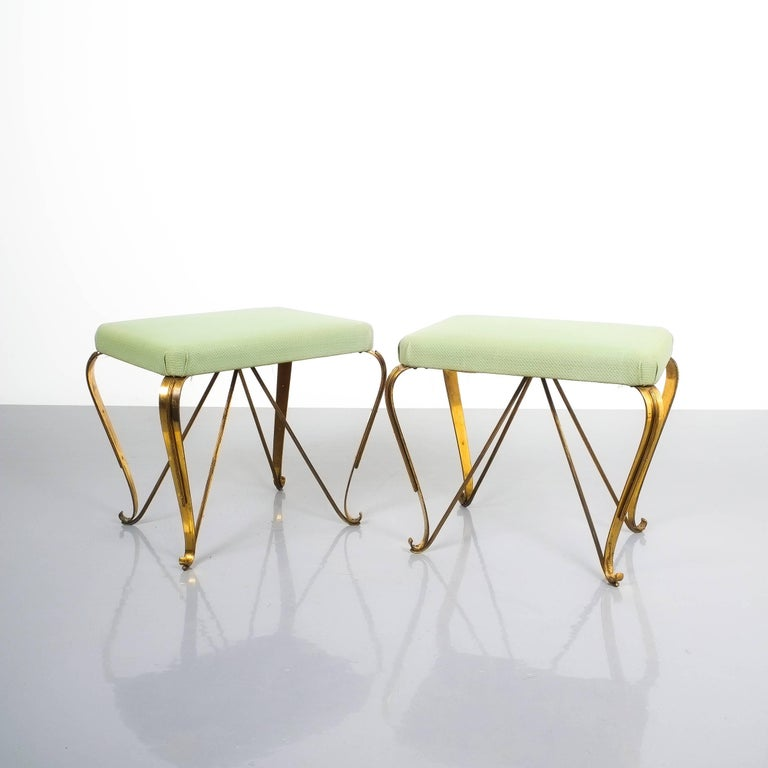 Pair of midcentury gold brass stools, Italy, 1950. Nice pair of brass stools with original vinyl upholstery in good condition.