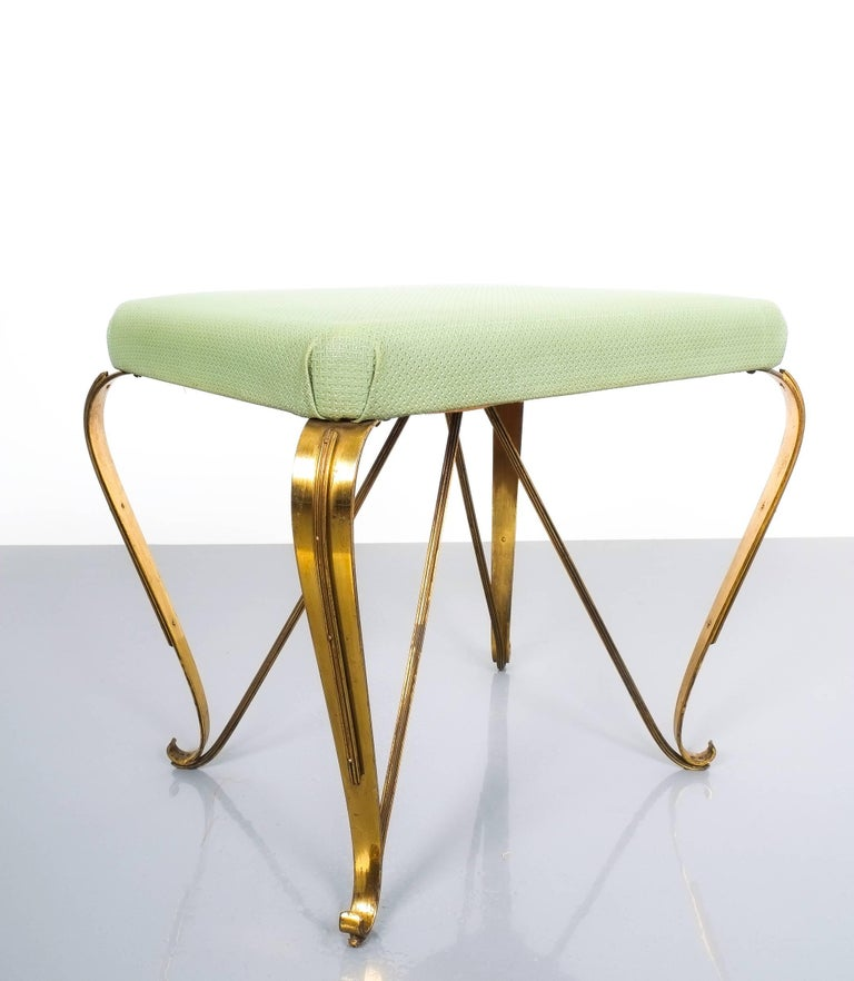 Mid-Century Modern Pair of Midcentury Gold Brass Stools, Italy, 1950 For Sale