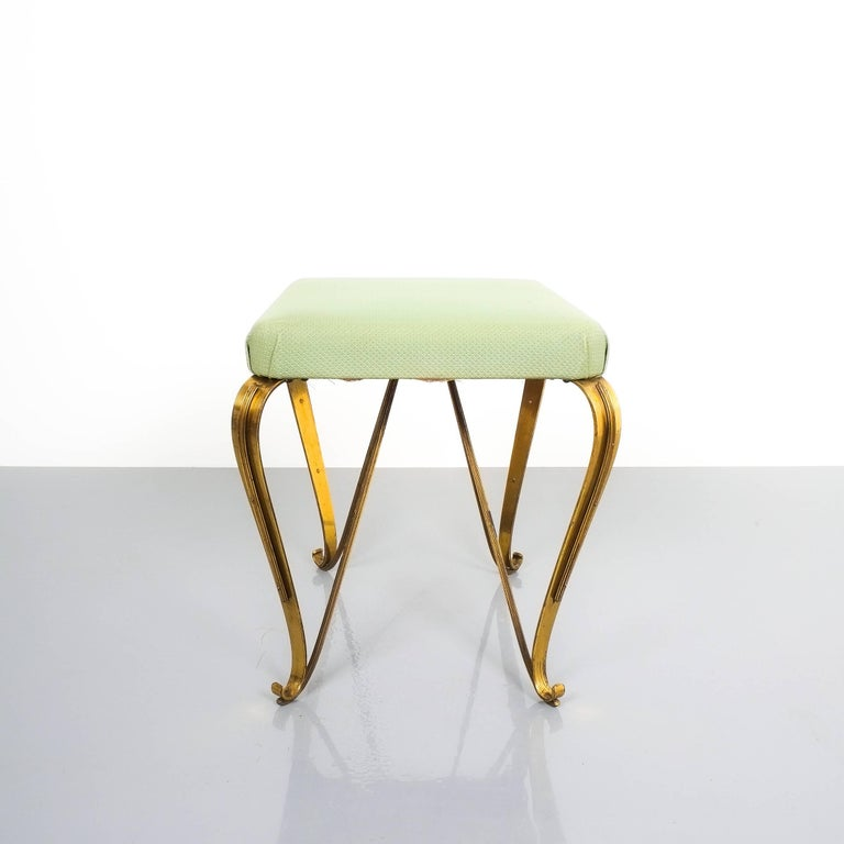 Italian Pair of Midcentury Gold Brass Stools, Italy, 1950 For Sale