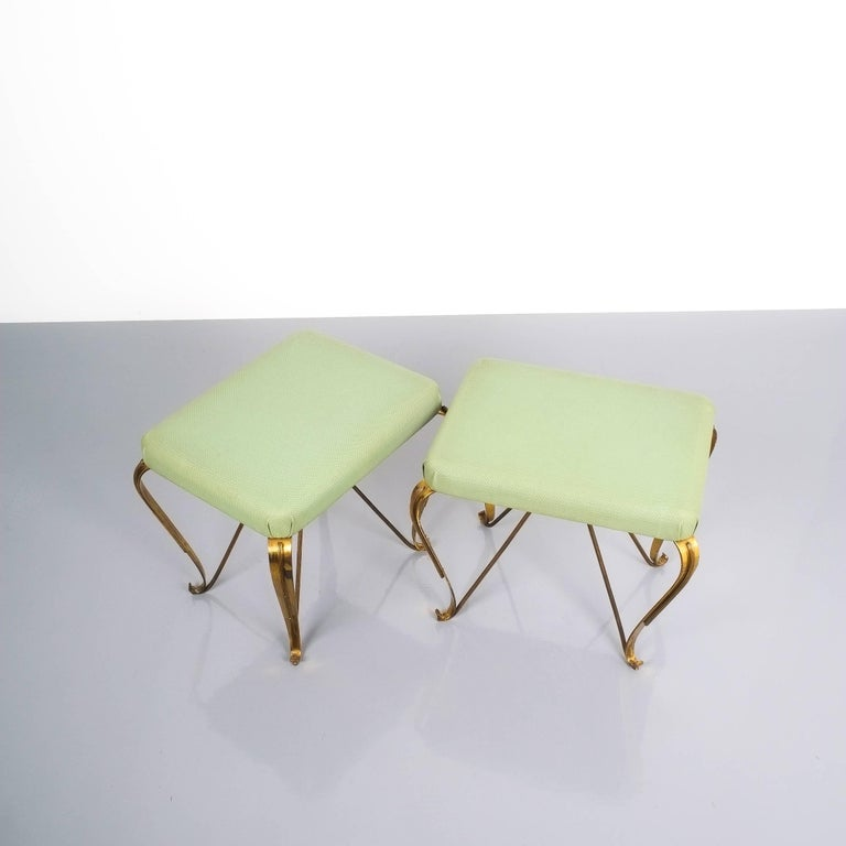 Mid-20th Century Pair of Midcentury Gold Brass Stools, Italy, 1950 For Sale