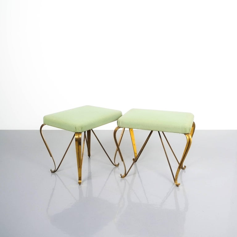 Pair of Midcentury Gold Brass Stools, Italy, 1950 For Sale 1