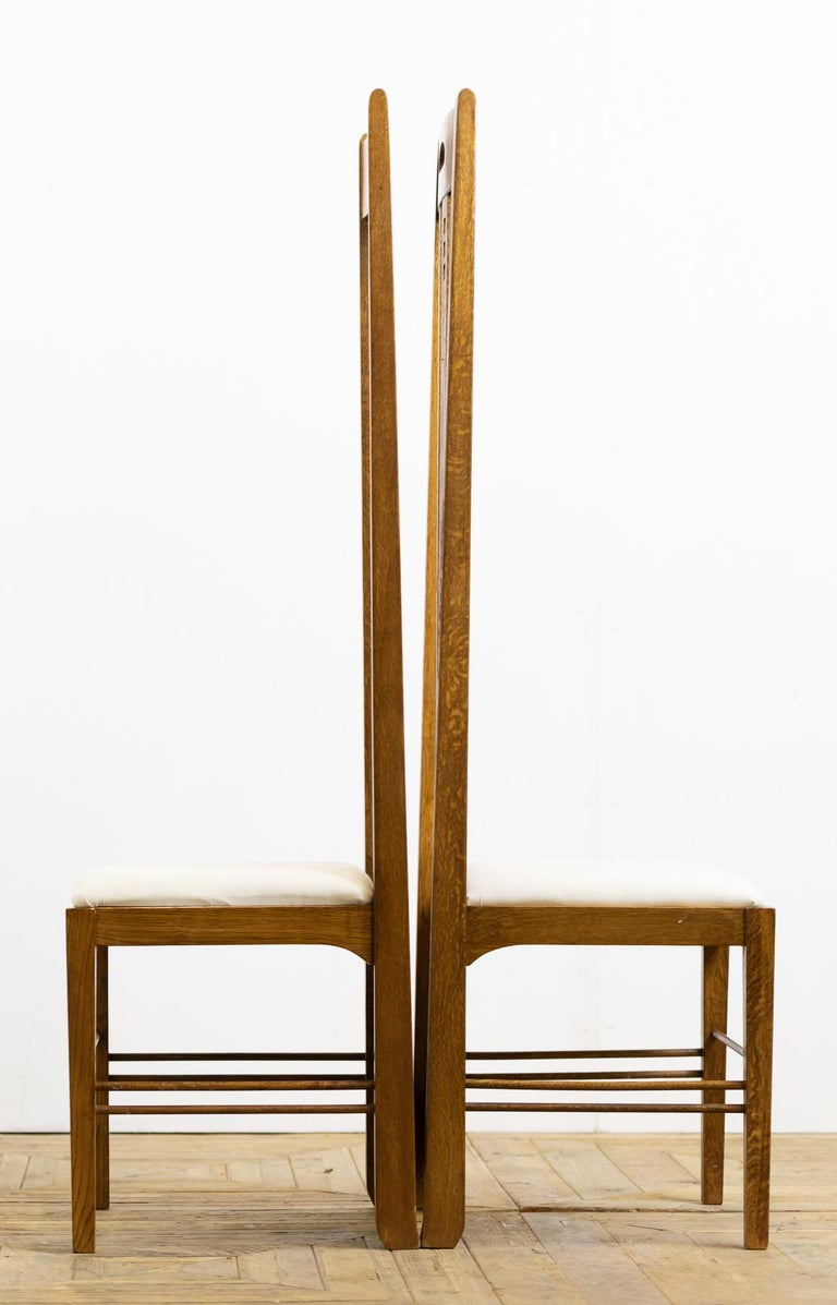 British Pair of Midcentury Golden Oak Mackintosh Art Nouveau Style Chairs For Sale