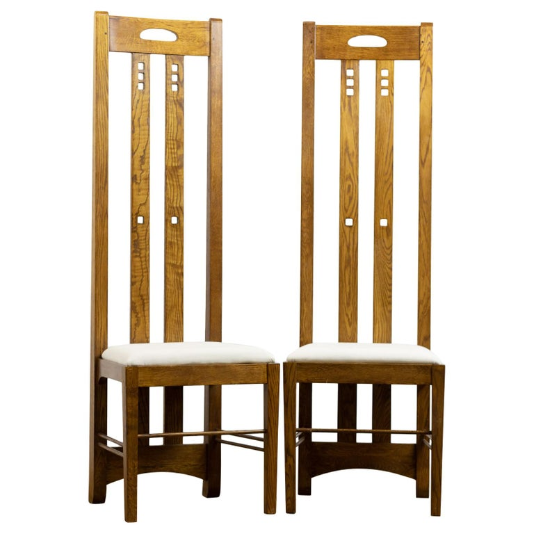 Pair of Midcentury Golden Oak Mackintosh Art Nouveau Style Chairs For Sale