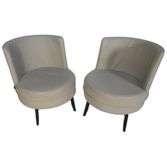 Pair of Midcentury Grey Leather Swivel Chairs