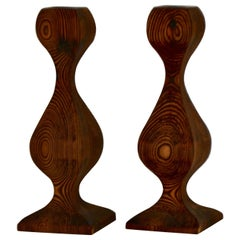Pair of Midcentury Hand Carved Wooden Candlesticks