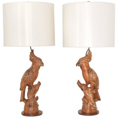 Pair of Midcentury Hand Carved Wooden Parrot Form Table Lamps