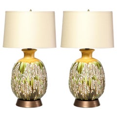 Pair of Mid Century Hand Glazed Expressionistic Organic Modern Ceramic Lamps