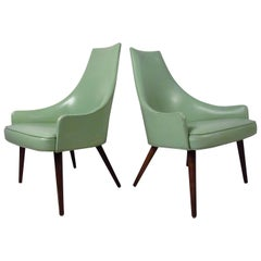 Pair of Mid-Century High Back Vinyl Chairs