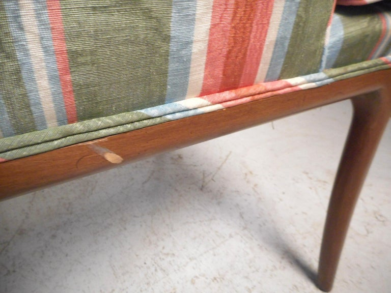 Pair of Midcentury High-Back Upholstered Chairs For Sale 4