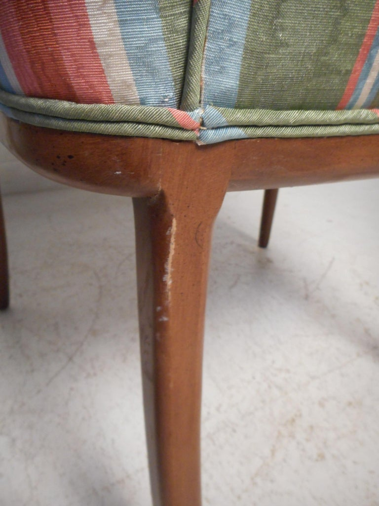 Pair of Midcentury High-Back Upholstered Chairs For Sale 6