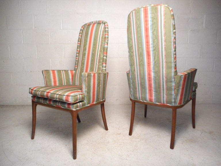 Mid-Century Modern Pair of Midcentury High-Back Upholstered Chairs For Sale