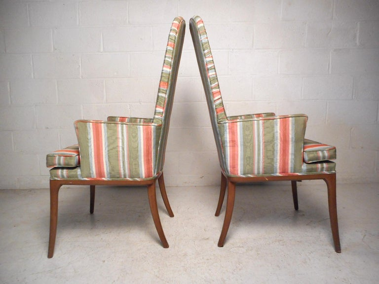 Pair of Midcentury High-Back Upholstered Chairs In Good Condition For Sale In Brooklyn, NY