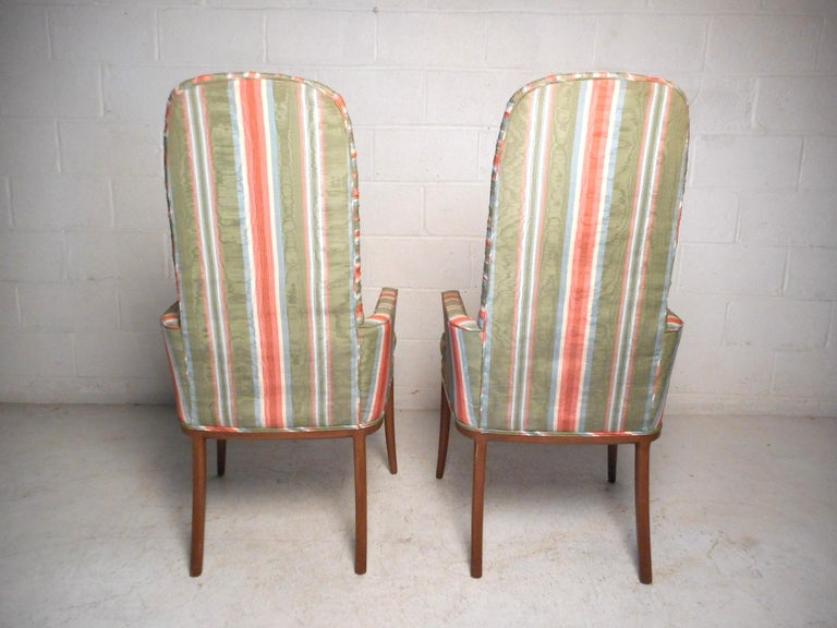 Late 20th Century Pair of Midcentury High-Back Upholstered Chairs For Sale