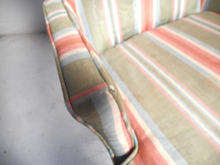 Pair of Midcentury High-Back Upholstered Chairs For Sale 1