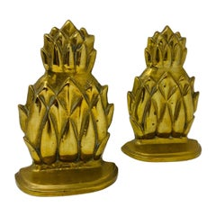 Pair of Mid Century Hollywood Regency Brass Pineapple Bookends