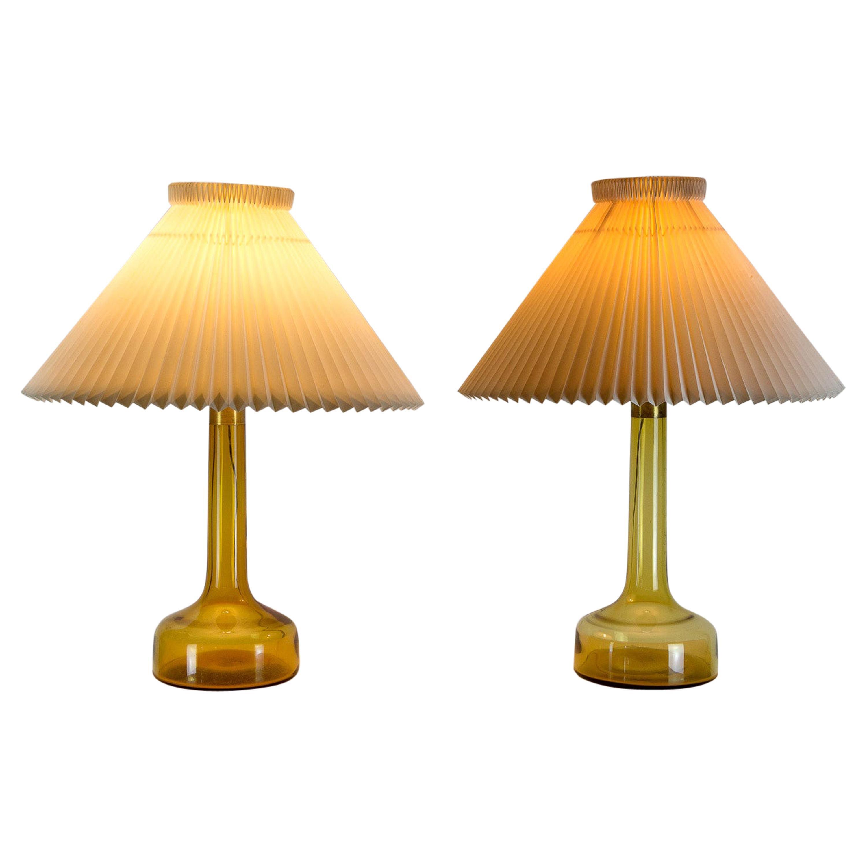 A Near Pair of Midcentury Holmegaard Glass Table Lamps, Le Klint, Denmark, 1960s