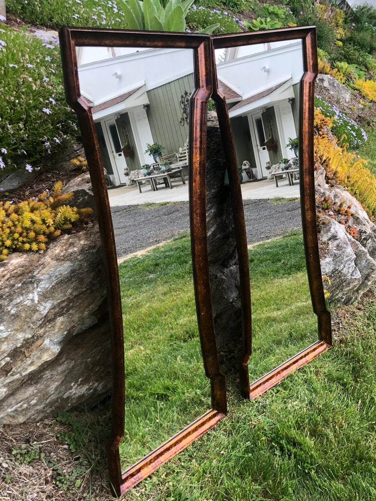 Pair of Mid Century Hour Glass Mirrors attributed to Weiman For Sale 11