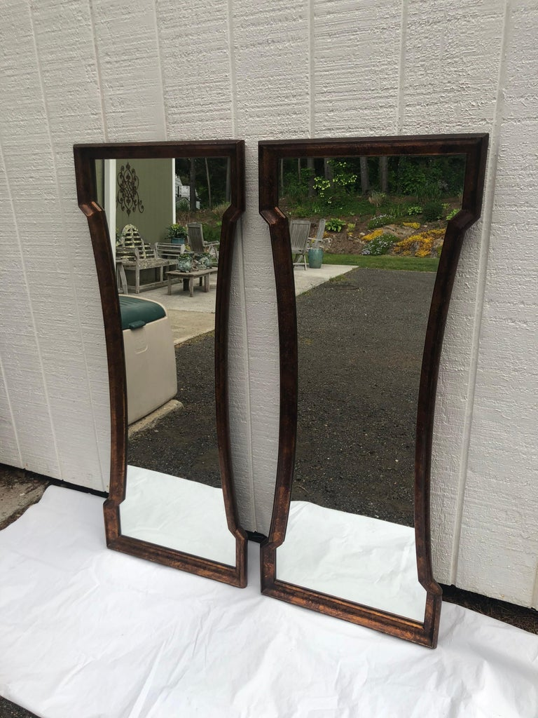 Hollywood Regency Pair of Mid Century Hour Glass Mirrors attributed to Weiman For Sale