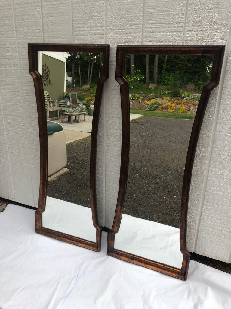 Hand-Painted Pair of Mid Century Hour Glass Mirrors attributed to Weiman For Sale
