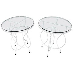 Pair of Midcentury Ice Cream Style Round Folding Cafe Tables Glass Tops