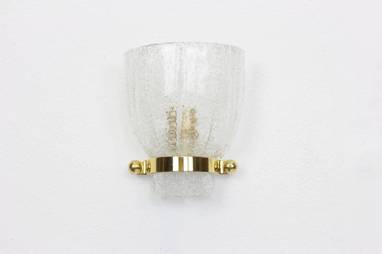 Pair of Midcentury Ice Glass Wall Sconces, Kalmar, Austria, 1960s In Good Condition For Sale In Aachen, DE