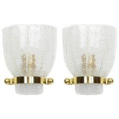 Pair of Mid-Century Ice Glass Wall Sconces, Kalmar, Austria, 1960s