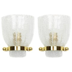 Pair of Midcentury Ice Glass Wall Sconces, Kalmar, Austria, 1960s