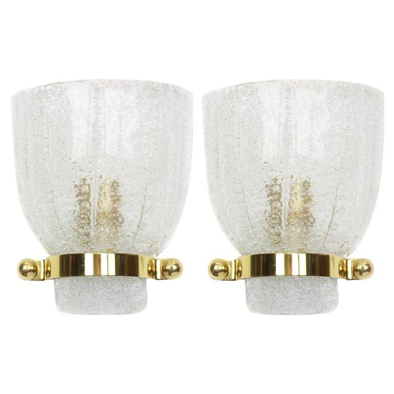 Pair of Midcentury Ice Glass Wall Sconces, Kalmar, Austria, 1960s For Sale