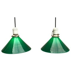 Pair of Mid Century Industrial Green Glass Pendant Lights, Germany