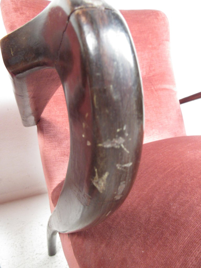 Upholstery Pair of Midcentury Italian Armchairs by Paolo Buffa For Sale
