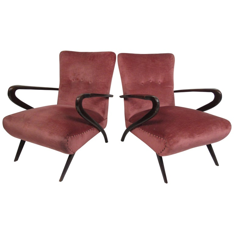 Pair of Midcentury Italian Armchairs by Paolo Buffa For Sale