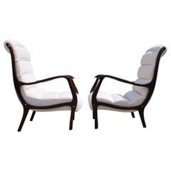 Pair of Midcentury Italian Armchairs Curved Arredamenti Corallo Made in Italy