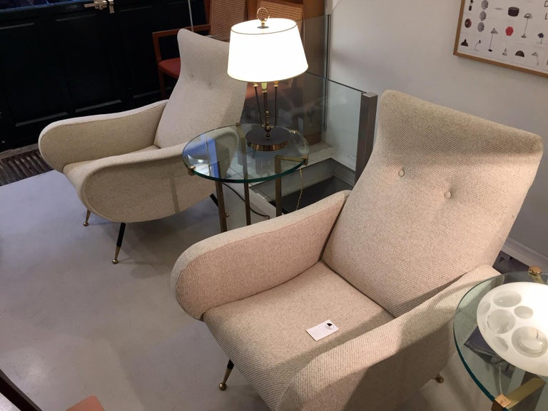 Brass Pair of Mid-Century Italian Armchairs Marco Zanuso Style For Sale