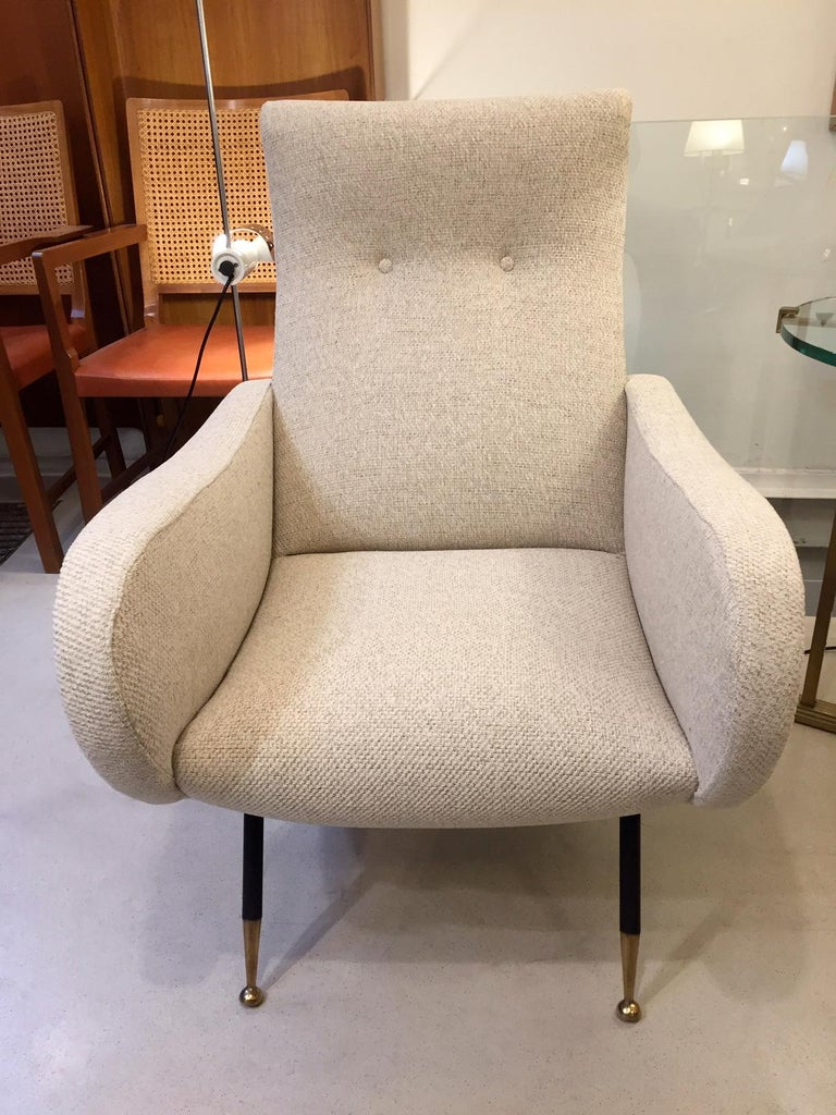 Pair of Mid-Century Italian Armchairs Marco Zanuso Style For Sale 1