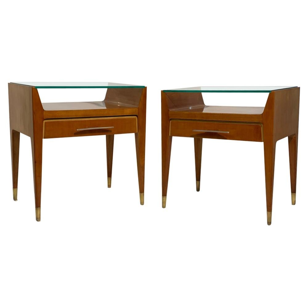 Pair of Mid Century Italian Bed Side Tables Night Stands Brass Handles and Feet