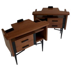 Pair of Midcentury Italian Bedside Cabinets or Tables with Black Metal Legs