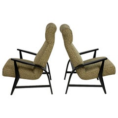 Pair of Midcentury Italian Black Lacquered Armchairs Original Fabric