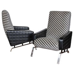 Midcentury Italian Black and White Armchairs with Metal Bases, G. Frattini, Pair